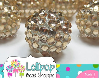 20mm OLD GOLD Rhinestone Beads Pave Beads Sparkly Bling Beads Chunky Beads Resin Beads Berry Beads Plastic Bubblegum Beads Bubble Gum Beads
