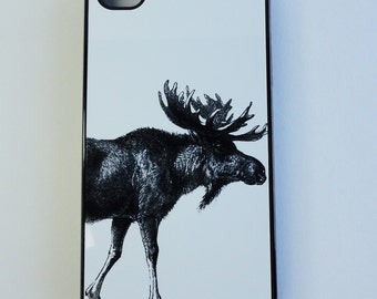 Iphone  7 plus  Case  Iphone 5 5s 4s 5c SG 5  Moose black white  Art drawing Samsung Ipod Case mobile cell phone cover snap case