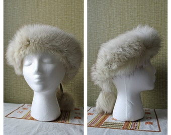 Vtg White Fox Fur Headband Finnish Blue Fox Fur Arctic Fox Hat White Fur Headband