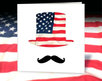Stars & Stripes Lincoln Top Hat Greetings Card