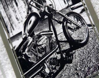 Framed 5x7 inch photo of Harley-Davidson chopper