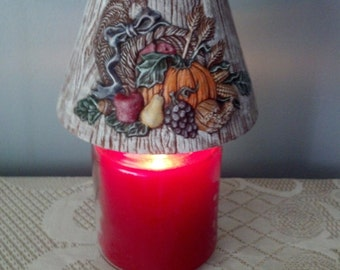 Hand Painted Ceramic Jar Candle Shade with Thanksgiving Cornucopia