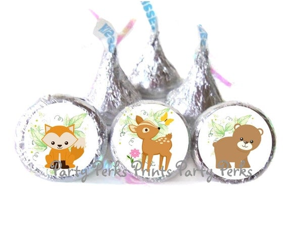 woodland baby shower favors forest animals deer fox and bear stickers