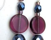 "Drop earring, glass beads purple, blue, black ""Purple to Go!"" - on silver wire"