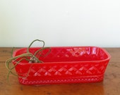 Vintage inspired resin trinket tray. Bright red. RESERVED for Shara