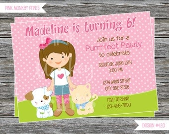 DIY - Girl with kitty and Puppy Birthday Party Invitation #420- Coordinating Items Available