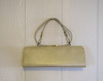 Vintage Long Cream Boxy Purse with handle