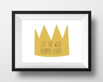 Digital Download Where the Wild Things Are Nursery Art print Print kids, Let The Wild Rumpus Start - 8x10 or 11x14