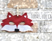 Red Fox Mask for Pretend Play - Child - Adult MADE TO ORDER
