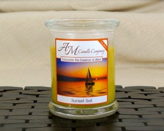 Sunset Sail - Scented Soy Candles, Salty Sea, Sun Set Candles, Soy Coconut Wax, Hand Poured, Tropical Candles, Birthday Gifts, Gifts for Her