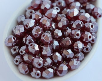 6mm (30pcs) Garnet Luster Cloating Faceted Glass Czech Fire Polished Round Beads Dark Red