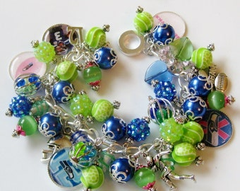 Seattle Seahawks Breast Cancer Awareness Charm Bracelet