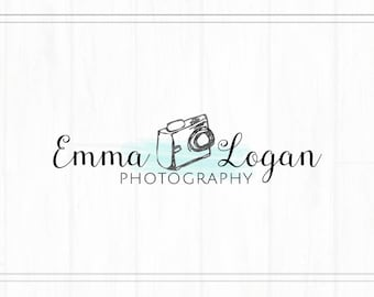 Hand Drawn Premade Camera Photography Watermark + Logo with Watercolor - L035