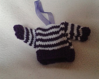 Knitted Mini Jumpers, Christmas tree decoration, stocking filler, Christmas tree ornament, purple stripes