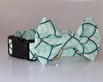 Mint Scales Bow Tie Dog Collar Set
