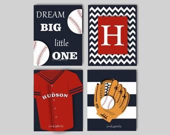 Baby Boy Nursery Art Baseball Wall Art Baseball Nursery Bedding Decor Dream Big Baseball Prints Boys Room Sports Prints Choose Colors SPBA20