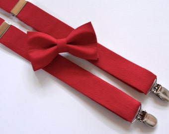 Red boys suspenders and bow tie set, boys bow tie and suspenders, suspenders and bow tie