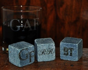 6 engraved Whiskey Rocks / Whiskey Stones - Laser engraved and personalized. Any text, any font.