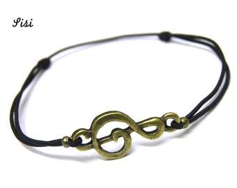 Music black cord bracelet
