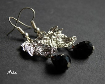 Pierced ears sheet black silver