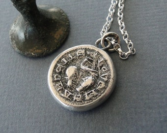 Love Me and I Thee…. medieval wax seal impression in Sterling silver.  Antique wax seal, romantic, sentimental.