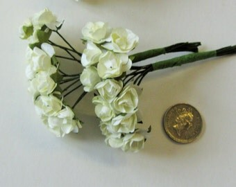 24 White or Ivory Paper Roses with stems for Wedding Decorations/Embellishments