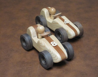 Pair (2) Wooden Toy Race Cars