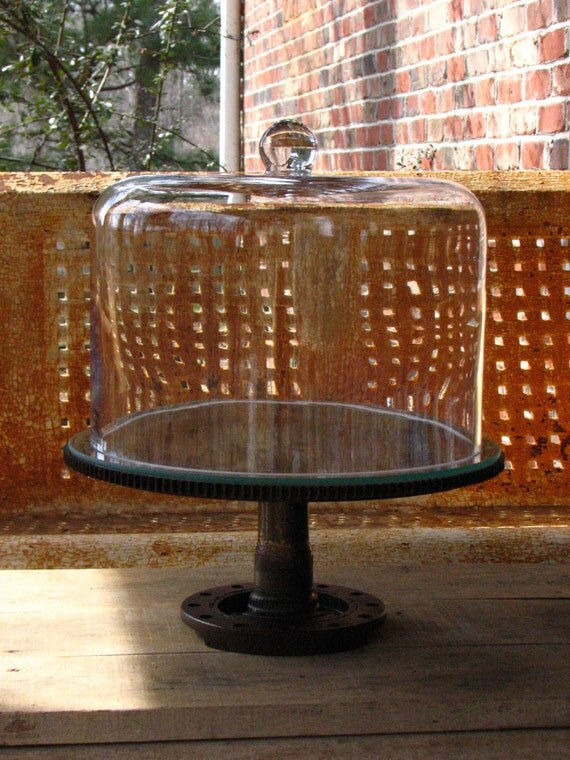 Vintage Industrial Cake Pedestal With Large Glass Dome