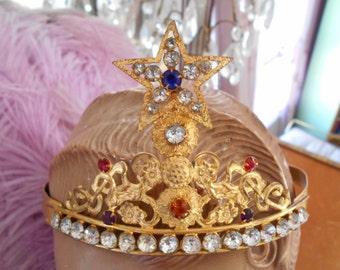 1800's Stunning Brilliant French Ormolu Gold Jeweled Diadem/Tiara/Crown