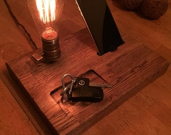 Iphone dock charger table lamp