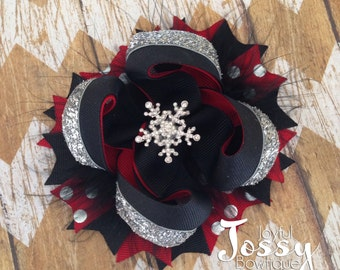 Snowflake hair bow, red black and silver hair bow, Christmas hair bow, holiday hair bow, fancy hair bow