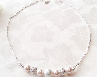Blush Pearl Necklace Blush Jewelry Bridesmaid Jewelry Wedding Pink Necklace Custom Colours