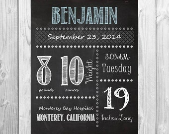 Chalkboard Baby Birth Stats Printable digital file 8x10 - boy/girl birth statistics baby gift
