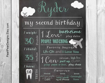 Airplane Birthday Chalkboard Poster Sign: Year Girl / Boy First Birthday Chalkboard Stat digital file prop/decor - Monthly/ First year bday