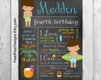 Luau Hawaii Birthday Chalkboard Poster Sign: Year Girl / Boy Birthday Chalkboard Stat Luau Hawaiian Islands