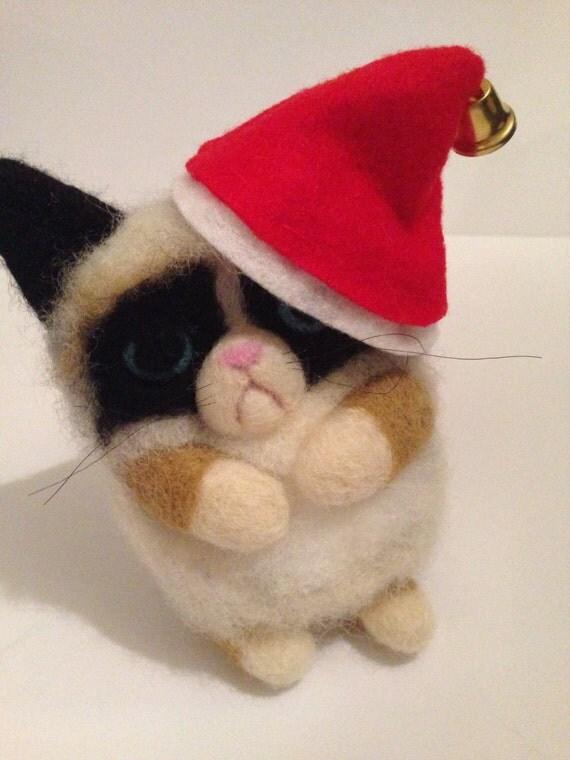 grumpy cat in christmas santa hat handmade by heartfelt61. Black Bedroom Furniture Sets. Home Design Ideas