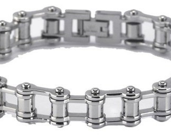 Unique Edgy Designer Stainless Steel Bicycle Chain Bracelet ~ FREE SHIPPING