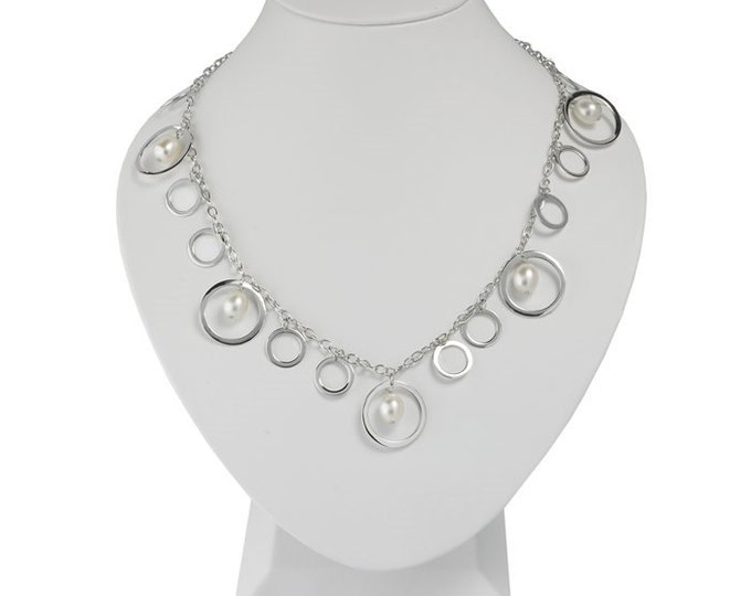 Sterling Silver Cable Necklace with Circle Drops and Freshwater Cultured Pearl Drops ~ Free Shipping