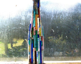Tall Arts & Crafts GLASS MOSAIC Decanter, Vase, Candleholder