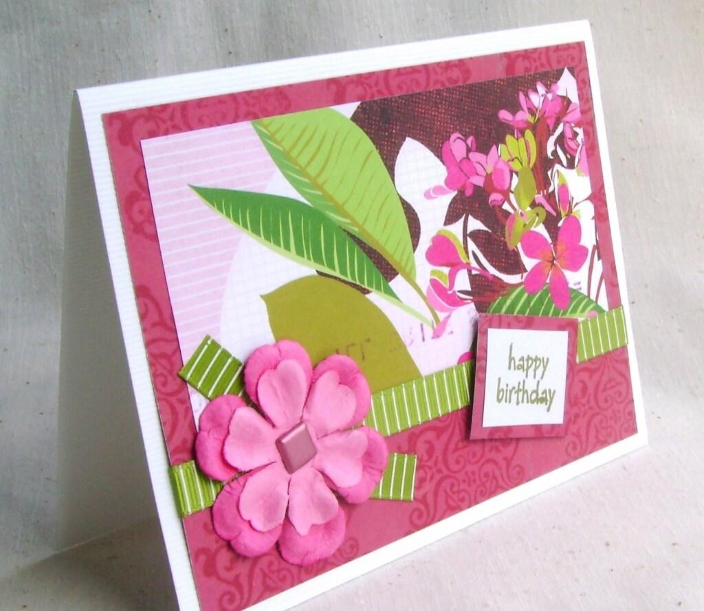 Tropical Birthday Card Happy Birthday Card Greeting Card