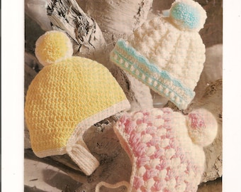 Crochet Paterns for Childs Hats     INSTANT DOWNLOAD PDF 1960s