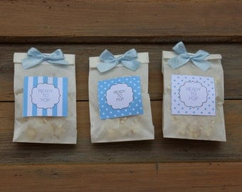 Paper bags with adhesive labels for Baby Shower