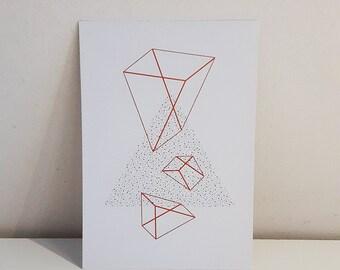 Orange & Brown: Minimal Geometric Giclée Print Postcard