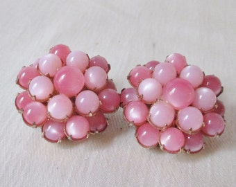 1950 American Unsigned Pink Plastic Bead Clip-On Earrings. Thank You Gift, Get Well Gift, Mothers Day Gift,Bridesmaid Gift,Birthday Gift