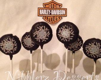 1/2 dz Harley Davidson inspired, Sons of Anarchy, SOA, SAMCRO motorcycle tire cake pops, gift box