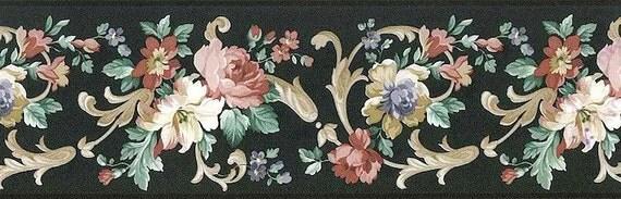Black Cream Floral Wallpaper Border Textured By Vymura 59453