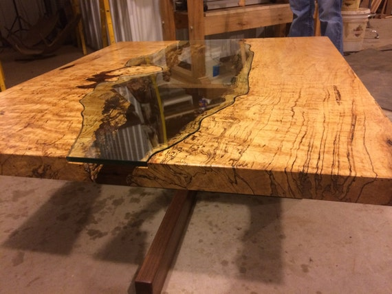 Items Similar To Table Of Spalted Maple Live Edge Slab And
