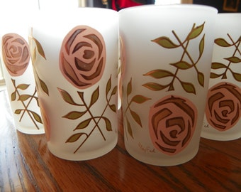 Vintage Mid-Century Signed Gay Fad Frosted Juice Glasses With Pink and Gold Roses