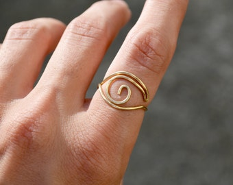 Statement Midi Ring Stacking Ring Gold Eye Ring, Above Knuckle Ring Boho Hippie Jewelry