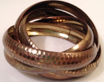Set of 4 Attached Bangles, Brass, 2 Textured, 2 Smooth, Vintage